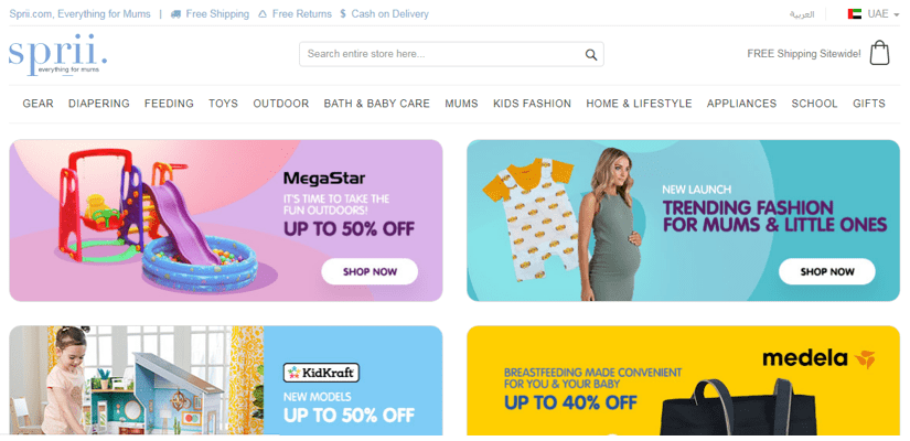 Launch eCommerce business, CodeShip provide you 5 eCommerce success stories from the top eCommerce platforms in KSA & UAE, the Leading eCommerce Platform for Mums in the Middle East 'Sprii.com' case study